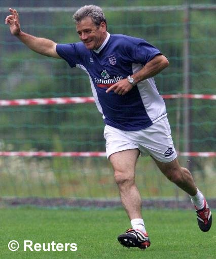 The gaffer celebrating a goal during Euro 2000 training