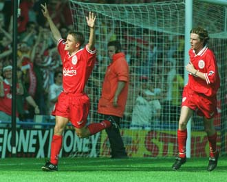 Owen and Macca celebrating