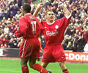 Owen and Ince celebrating